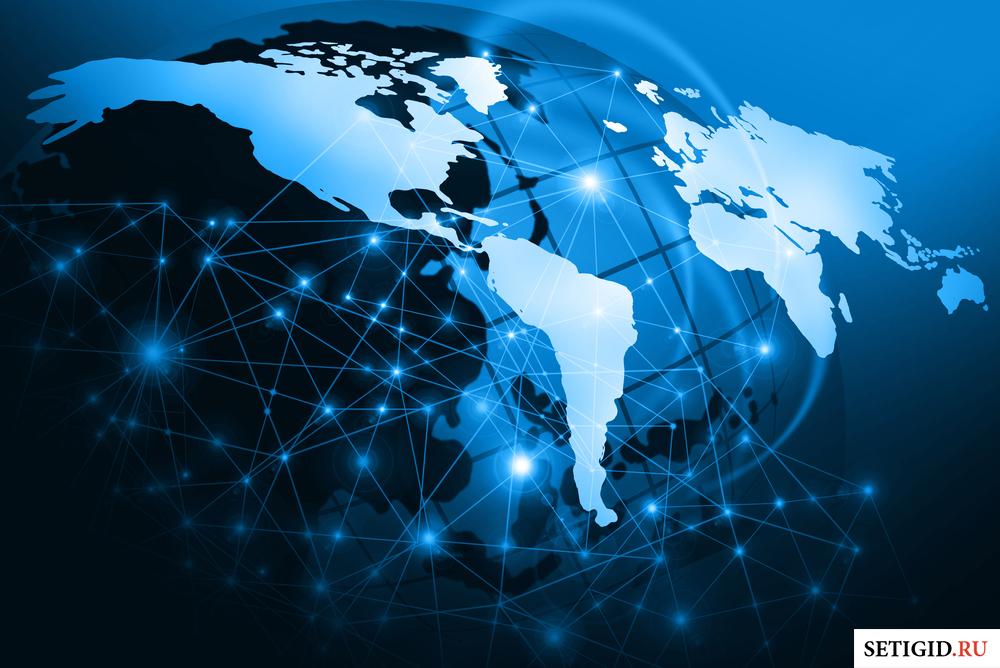 карта мира с виртуальными соединениям в виде линий
