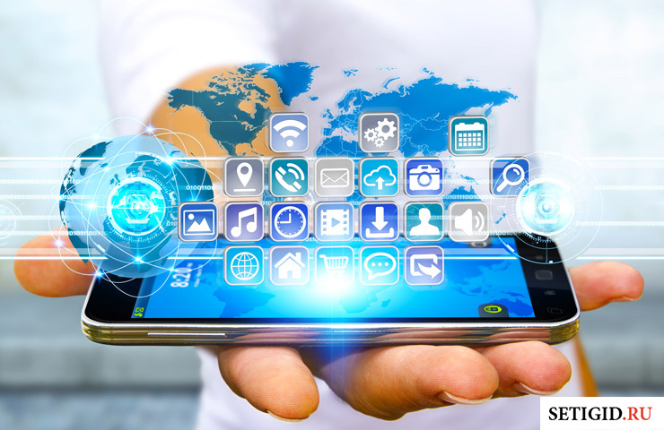 телефон в руке и виртуальные сервисы
