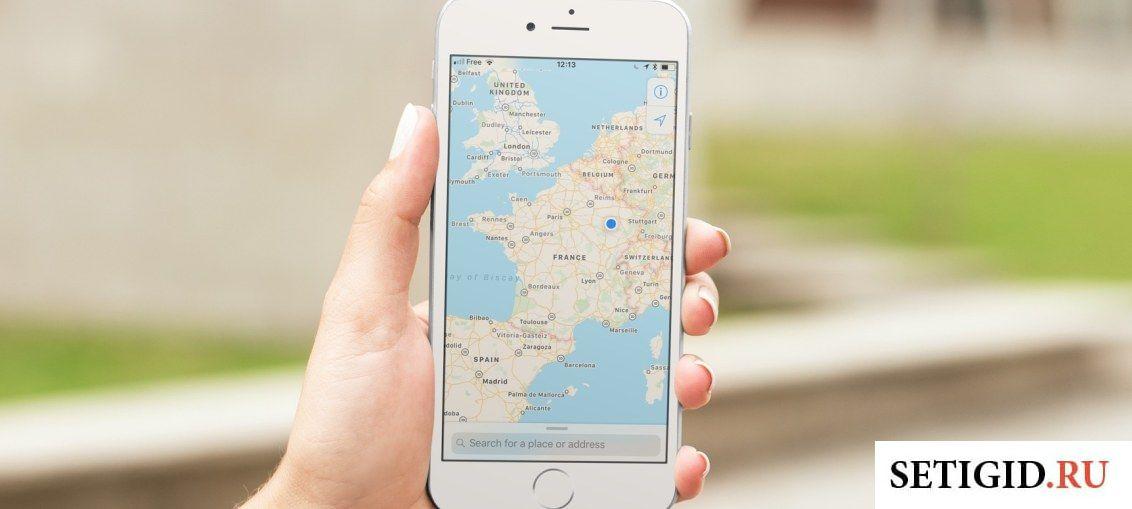 Карта в телефоне и улица