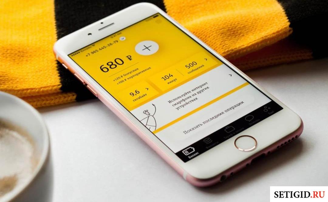 Смартфон с приложением «Мой Билайн» на брендовом шарфе