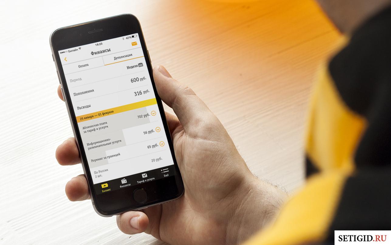 Вкладка «Финансы» Билайн на смартфоне в мужской руке