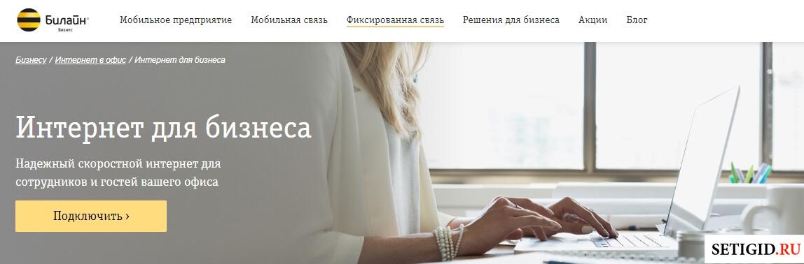 Страница условий интернета для бизнеса на сайте Билайн