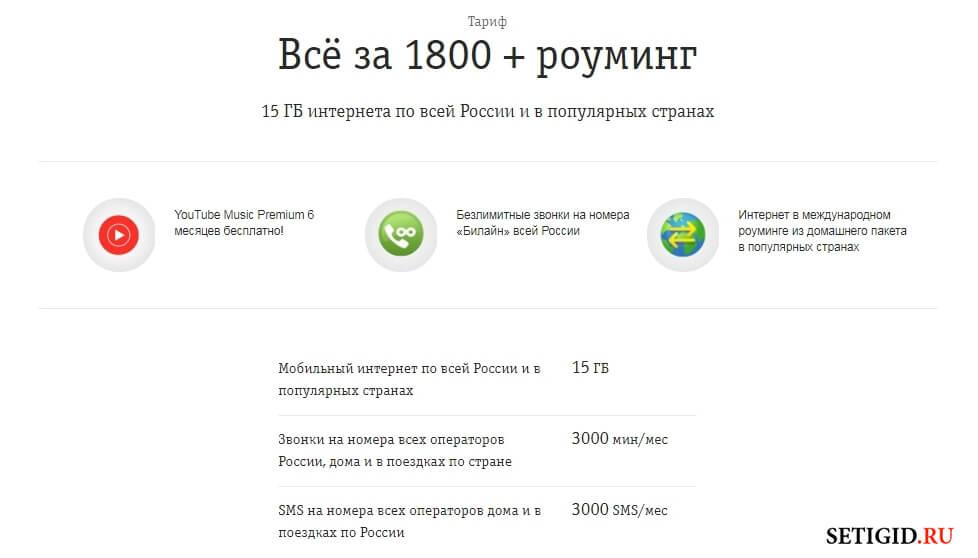 Страница тарифа Всё за 1800 роуминг Билайн